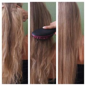 Avant et après la brosse à cheveux lissante chauffante